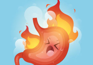 Illustration from Acid reflux or Heartburn and Gastritis on the blue background, The concept with indigestion and stomach pain problems, Cartoon and Vector